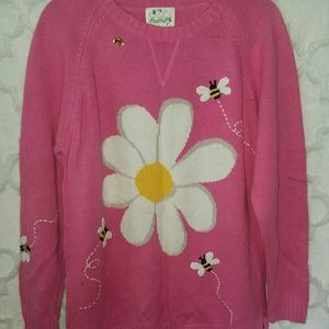 Quacker Factory Pink Daisy & bee sweater